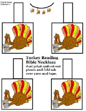 Printable Turkey Necklace Template Craft Sunday School
