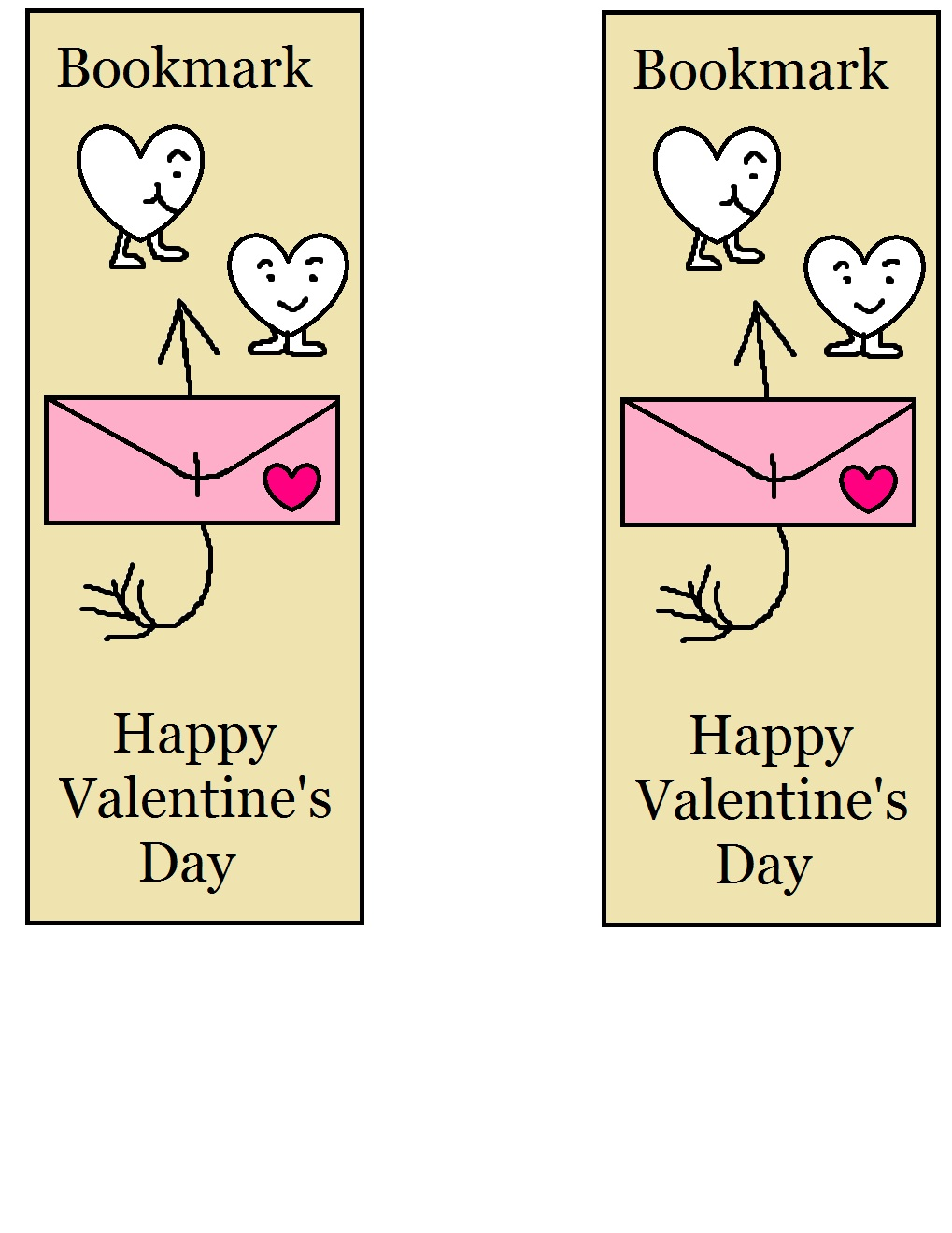 Valentine bookmark to color - Valentine Bookmarks