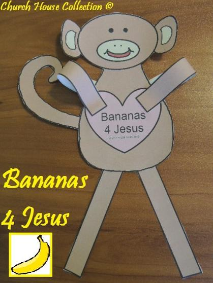Bananas For Jesus Monkey Cutout Craft for Kids In Sunday School or Children's Church.