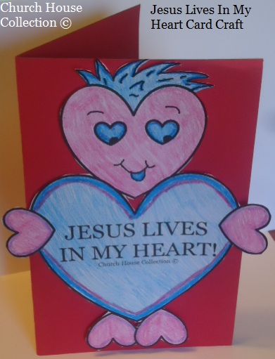Valentine Jesus Lives In My Heart Card Craft for Kids In Sunday School Children's Church