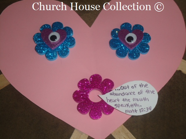 Valentine's Day Heart Craft For  Sunday School or Children's Church Matthew 12:34
