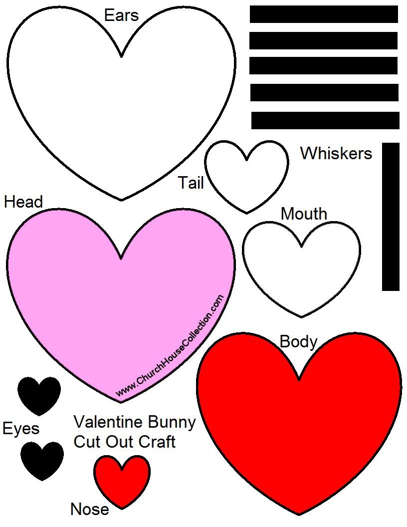 Kindergarten valentine craft ideas - Baby Valentine Bunny Heart Craft Colored Version Printable Version