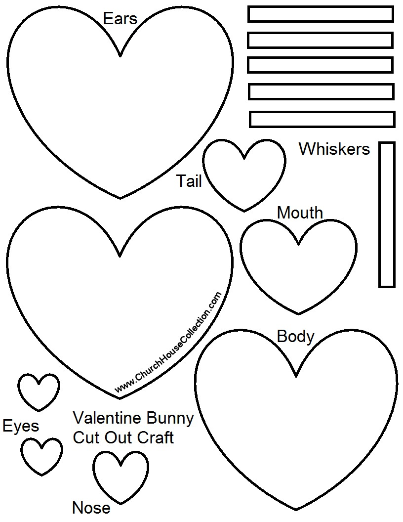 Valentine 39 s day bunny rabbit heart cutout craft for kids for Free craft templates to print
