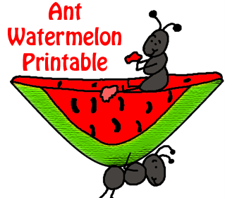 Sunday School Crafts- Ant Watermelon Cutout Printable